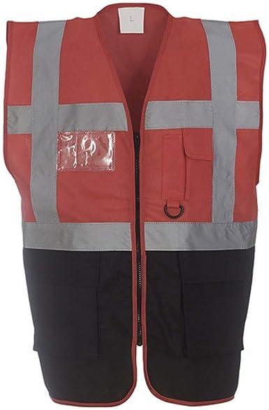 Yoko Mens Hi Vis Executive Long Sleeve Zip Up Safety Waistcoat