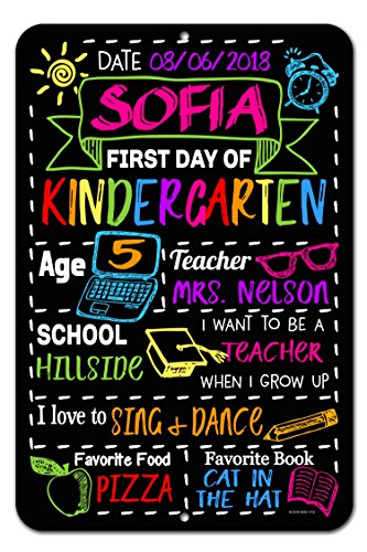 Honey Dew Gifts Large First Day of School Chalkboard Style Photo Prop Tin Sign 12 x 18 inch - Reusable Easy Clean Back to School - Customizable with LIQUID CHALK MARKERS (Not Included) by Honey Dew Gifts