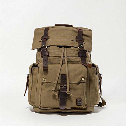 Vintage Backpack Men Casual Canvas Shoulder Bag Men Outdoor Sports Hiking Camping Hiking Hunting Green