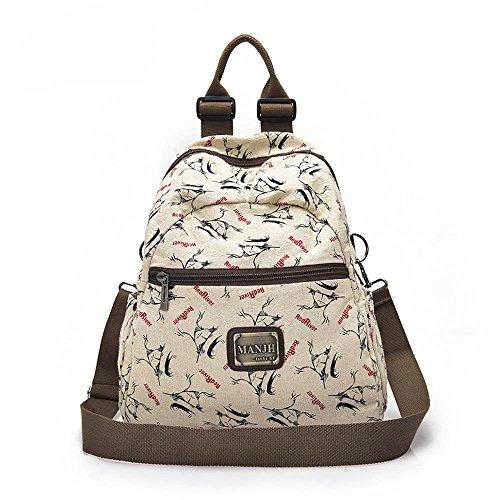 Aoligei Mode d'impression toile avec style littéraire lin de double sac à bandoulière coton C