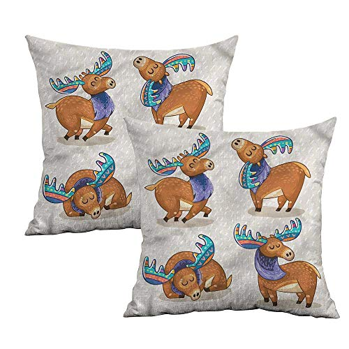 Khaki home Moose Square Pillowcase Covers with Zipper Friendly Nursery Kids Square Custom Pillowcase Cushion Cases Pillowcases for Sofa Bedroom Car W 24