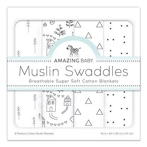 Muslin Swaddle Blankets, Set of 4, Premium Cotton, Little Village and Trees, - Premium Village