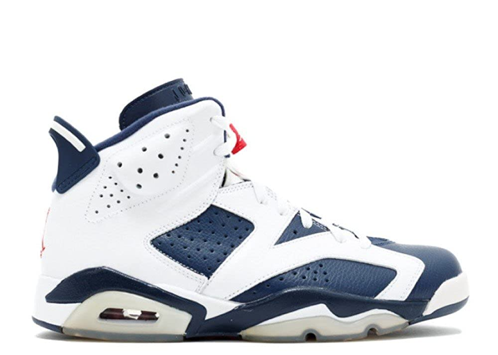 the latest 896ce d5dea Amazon.com   Jordan Air 6 VI Retro Olympic Men s Basketball Shoes  White Midnight Navy Varsity Red (13 M)   Basketball