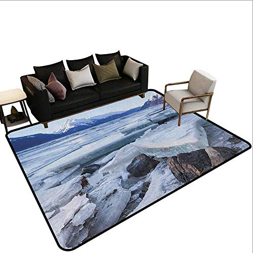 Big Carpet Alaska,Ice Chunks on The Side of Chilkat River in North America Winter Season, Seafoam White Sky Blue]()