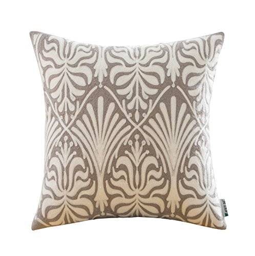 HWY 50 Grey Throw Pillows Covers For Couch / Bed 18 x 18 inch , Cotton Canvas Embroidery Home Decor Sofa Throw Pillows Cases , European Geometric Floral Pattern Cushion Covers ( Single Piece ) - Ikat Throw Pillow