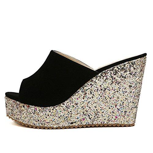 Pantofole Smerigliate Balamasa Donna Con Tacco Alto Nero