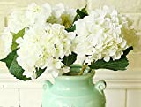 Kitchen Table Centerpieces HFDA 5 piece Artificial Silk Hydrangea Home Kitchen Dining Table Centerpieces Decorations (18 in, White)