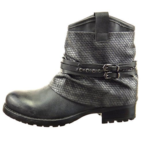 Sopily - Chaussure Mode Bottine Motard Montante femmes Peau de serpent multi-bride clouté Talon bloc 3.5 CM - Gris