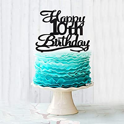 Happy 10th Birthday Cake Topper Black Acrylic Number 10 Ten Years Old Party Decoration