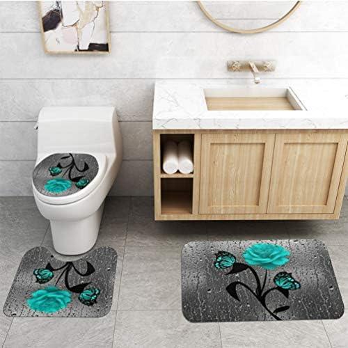 TOPBATHY 4 Pieces Bathroom Rug Mats Set with Contour Mat Toilet Lid Cover Shower Curtain Sea Themed Pedestal Mat Non Slip Bath Mat Toilet Rug Set