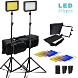 2 Sets of 216 LED Dimmable Ultra High Power Lighting Panel with Collapsible Light Diffuser, 4 Color Gel Filter Light Stand, Battery/Charger, and Carry Bag, Photo Video Light Kit, JSAG372