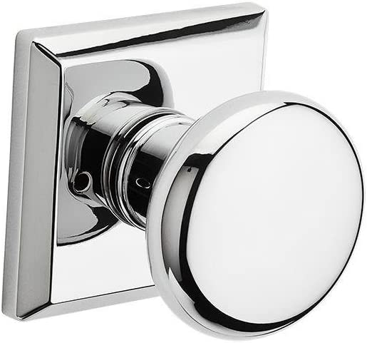 Baldwin PVROUTSR260 Baldwin Reserve Privacy Round with Traditional Square Rose in Bright Chrome Finish