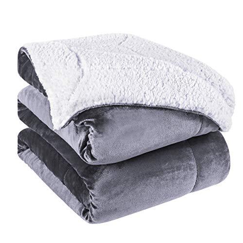 HOMEIDEAS Sherpa Fleece Blanket, Reversible Blanket Luxury S