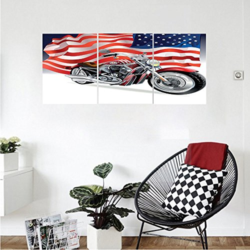 Liguo88 Custom canvas Manly Decor Wall Hanging Motorbike And Us Flag Sporty Auto Shows Motorcyclist Powerful Vehicles Bedroom Living Room Decor