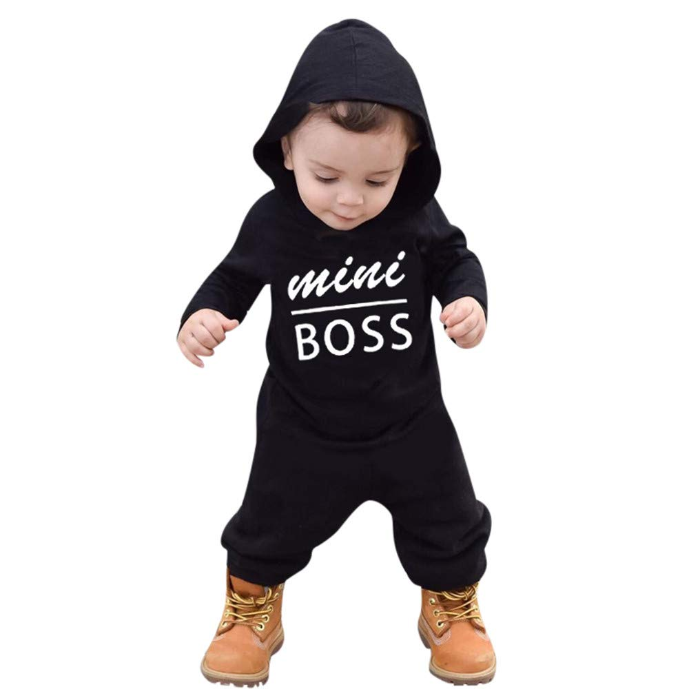 BURFLY Toddler Baby Boys Girls Long Sleeve Letter Print Hoodie Outfits, Mini Boss' Printed Baby Kids Black Romper Jumpsuit Mini Boss' Printed Baby Kids Black Romper Jumpsuit