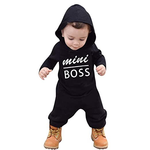 edba98a2e623 Hatop Infant Baby Boys Girls Long Sleeve Fluffy Hooded Jumpsuit Romper  Outfits Clothes (Black