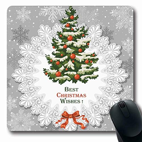 Ahawoso Mousepad for Computer Notebook Snowfall Blue Tree Vintage Christmas Decorated Spruce Holidays Luxury Hand Winter Drawn Year Design Oblong Shape 7.9 x 9.5 Inches Non-Slip Gaming Mouse -