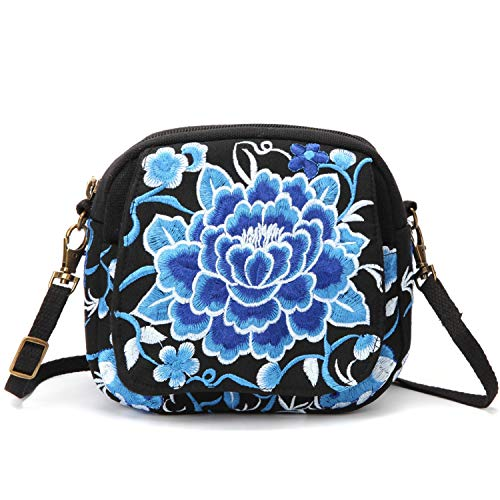 Embroidered Coin Purse - Embroidered Small Crossbody Bag for Women, Cell Phone Purse Wristlet Handbag (Blue and White Flower)