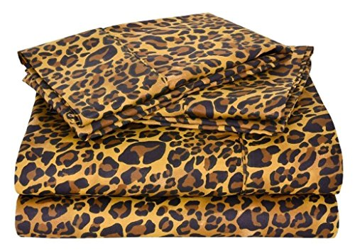 Price comparison product image Sleepwell Bedding Luxury Egyptian Cotton 600-Thread-Count Sateen 4 PCs Queen Sheet Set (+16 Inch) Pocket Depth, Leopard Print