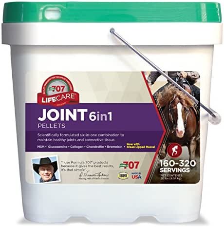 Formula 707 Joint 6in1 Equine Supplement, 20lb Bucket – MSM, Glucosamine, Chondroitin, Collagen, Bromelain & Green-Lipped Mussel for Horses