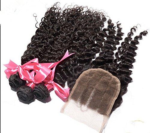 Cheap DaJun Hair 7A Philippines Virgin Remy Human Hair deep wave with closure 3 Way Part Natural Color 8''closure+14''14''14''weft by DaJun