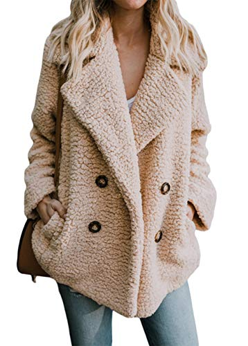 Shawhuwa Womens Ladies Winter Cozy Warm Casual Oversized Fleece Open Front Button Fuzzy Coat with Pockets Fluffy Cardigans Outerwear Jacket Small Khaki (Fur Button Front Jacket)