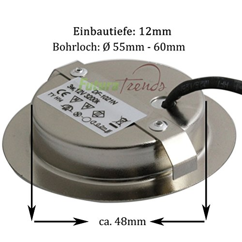 2er Set LED Einbauleuchte Möbelleuchte Einbaustrahler 3W HIGH LED ...