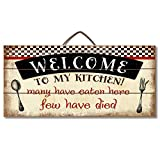 "pictures of white kitchens Highland Woodcrafters Welcome to My Kitchen... Funny Wood Sign 12"" x 6"" Slatted Wood Sign"
