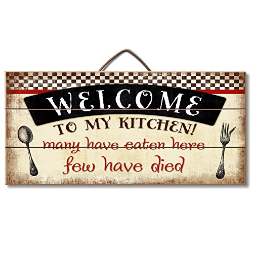 "Highland Woodcrafters Welcome to My Kitchen... Funny Wood Sign 12"" x 6"" Slatted Wood Sign"