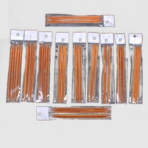 Zehui Carbonized Bamboo Needles Set Knitting Kits Double Pointed (2.0mm - 5.0mm) 5 Sets of 11 Sizes 5(13cm)