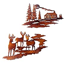 Signstek Metal Wall Sculptures with 2 Set: Cabin Decor and Deer Decor, Wall Art Country Rustic Decor