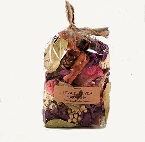 Peace, Love & Harmony Potpourri is a mixture of Purple flowers, pods, berries & cones mixed and scented my fragrance blend of Sandalwood, Patchouli, Rose, Spice & Citrus. 3cup size bag - Spice Roses