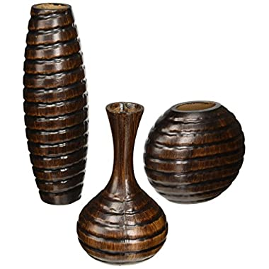 Hosley Set of 3 Wood Finish Vases. Ideal for Decorating, Home Office. Makes a Great Gift