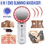 Fat Remover Machine Carer 6 in 1 EMS Sliming Massager for Stomach Arm Leg Weight Loss Machine with EMS Pads Vibration Beauty Device Blue Red Light Ion Massager (White)