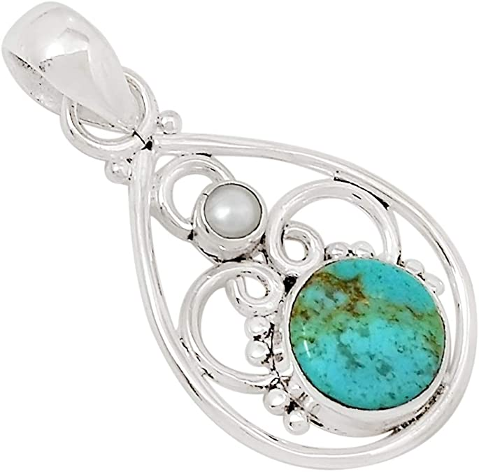 Xtremegems Stablized Blue Turquoise /& Cultured Pearl 925 Silver Pendant Jewelry 1 1//4 27219P
