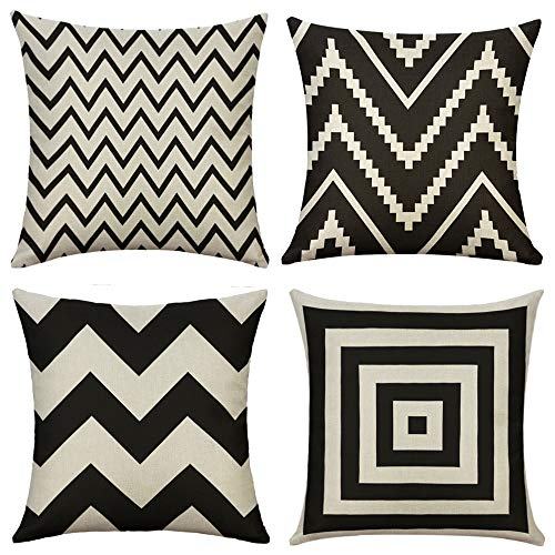 Geometric Style Benches - MIULEE Pack of 4 Decorative Black Wave Outdoor Pillow Cover Geometric Style Durable Cotton Linen Burlap Square Throw Cushion Cover Cushion Case for Sofa Bedroom Car 18 x 18 Inch 45 x 45 cm