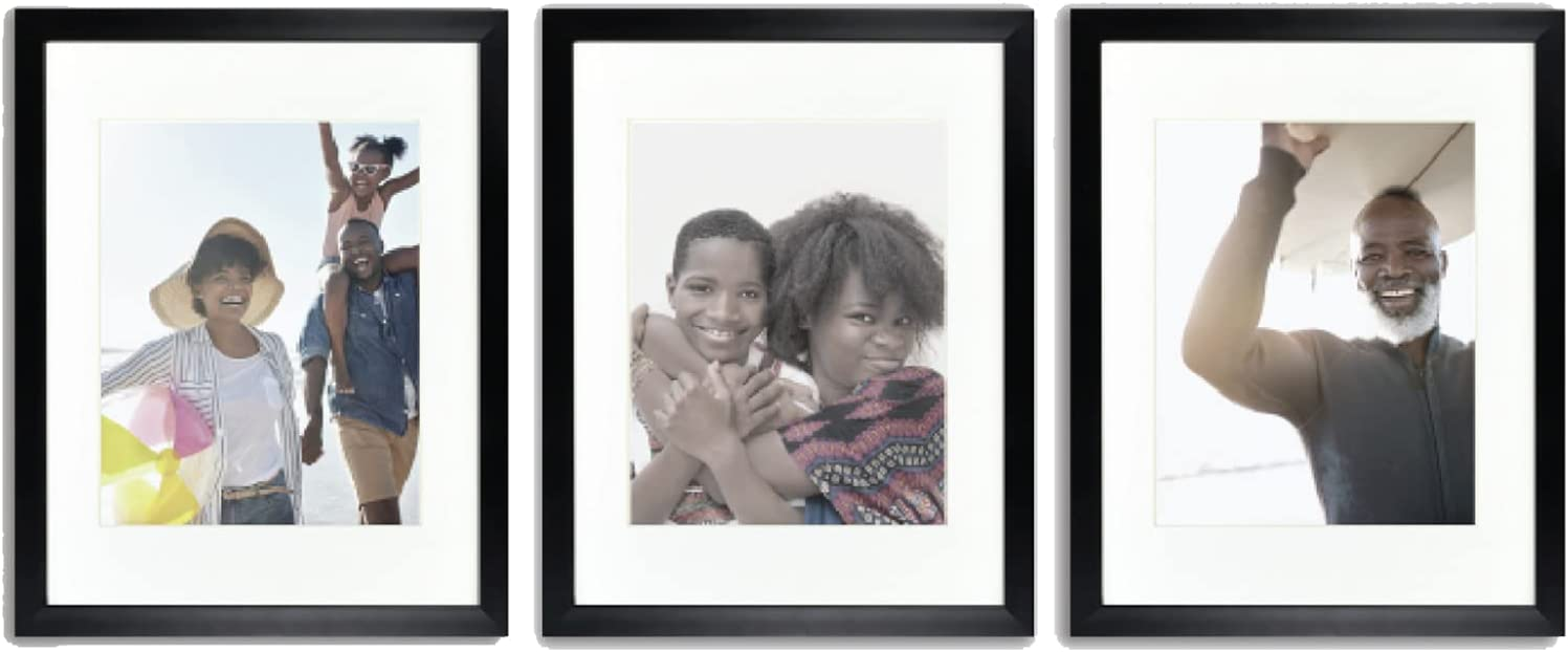 Sheffield Home Decor Collection- 3 Piece Picture Frame Set, Gallery Set, 11x14in, Matted to 8x10in (Black)