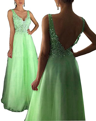 Prom Women Long Dresses V Champagne Fanciest Sage 2017 Double Evening s Gowns Neck Lace dt77Tq