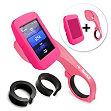 Tuff-Luv 3 in 1 Combo Silicone Gel Skin Case and Screen Cover for Garmin Edge 520 with Out-Front Handlebar Mount - Pink