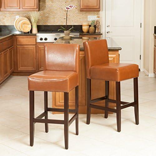Christopher Knight Home Lopez Leather Counter Stools, 2-Pcs Set, Hazelnut