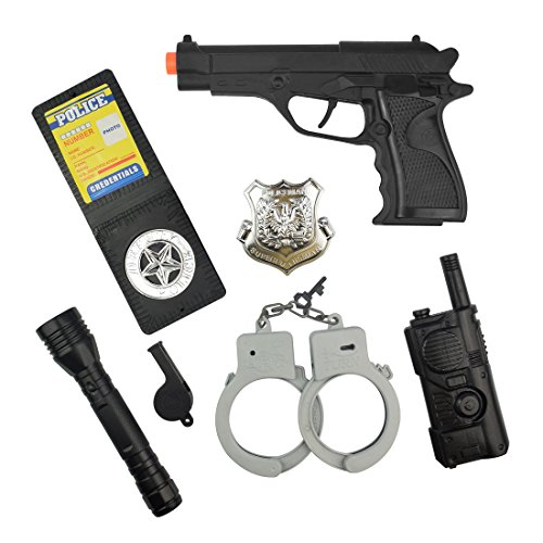 Badge Handcuff - IAMGlobal Police Role Play Kit, Police Officer Role Play Set For Kids With Badge, Handcuffs, Walkie Talkie, Whistle For Fun