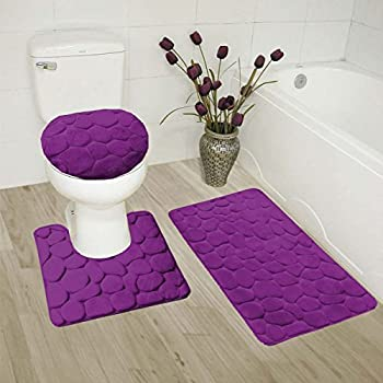 GorgeousHome(ROCK) New Bathroom Collection 3PC Set Memory Foam Bath Mat  Contour Rug And Round Lid Cover Antislip Bathroom Assorted Colors (PURPLE)