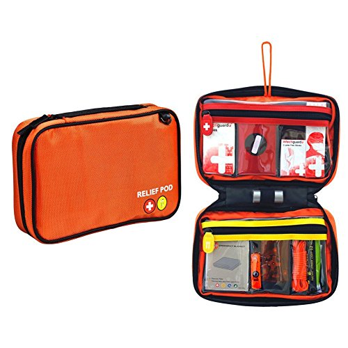 Small First Aid Kit, Relief Pod Orange Emergency Bag Safety Home Kit, 32pc by By-Relief Pod