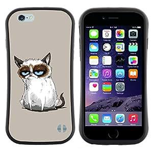"Pulsar iFace Series Tpu silicona Carcasa Funda Case para Apple Iphone 6 Plus / 6S Plus ( 5.5 ) , Gato siamés Dibujo Angry Blue Eyes Moody"""
