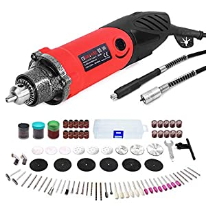 GOXAWEE Rotary Tool Kit, 240W Multi-Functional Mini Electric Die Grinder Set with 1/4 Inch Chuck (0.5-6 mm), 6 Step…