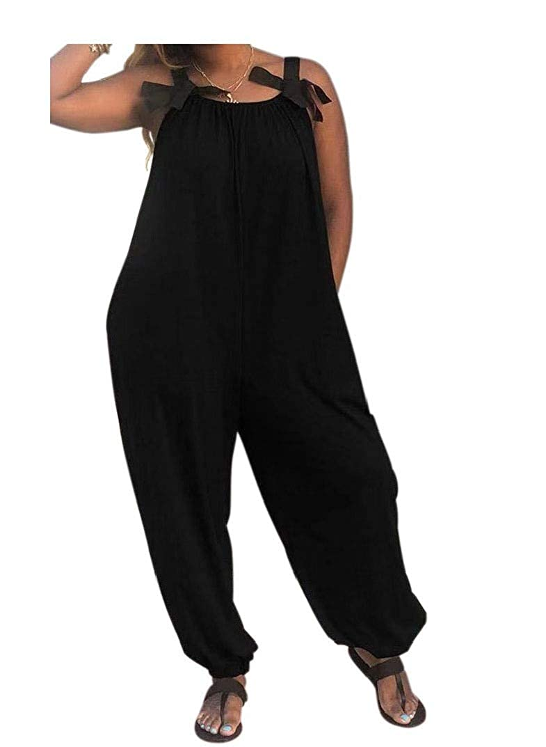 AngelSpace Women Solid-Colored Cami Jumpsuit Bowknot Relaxed Formal Jumpsuit