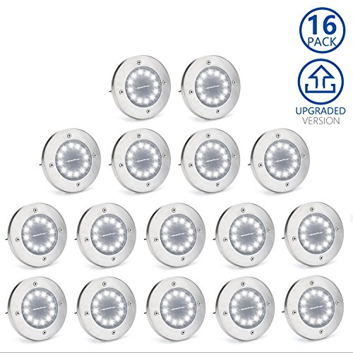 Solar Ground Lights,Garden Pathway Outdoor in-Ground Lights with 12 LED (16 Pack) by ALLCCYYMY