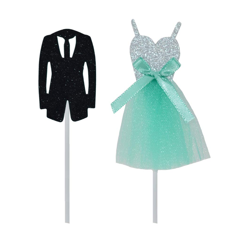 HZOnline 5 Sets Wedding Tiffany Blue Dress and Suit Cupcake Toppers Kid Boy Birthday Decorations Valentines Day DIY Home Theme Party Food Fruit Cake Picks Decor(10PCS)