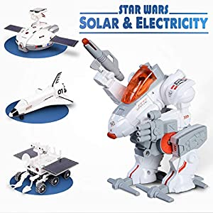 CIRO Star Wars Space Toys, STEM Solar Robot Kit 4 in 1 Science Engineer Building Toy for Kids Age 8 and Up (Rechargeable, Solar into Electricity)