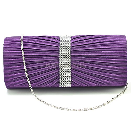 Handbag Bridal TM Clutch Bag Wocharm Wedding Diamante Prom Purple Pleated Ladies Satin Womens 6dwA4